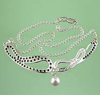 Срібне кольє з перлами