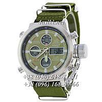 Часы AMST Silver-Black Green Wristband реплика