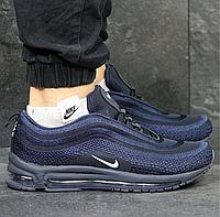 Кроссовки мужские сетка Nike Air Max 3831 синие с белым логотипом 4c71d205976e0