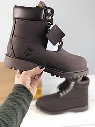 Ботинки Timberland Dark Brown Fur с мехом. Живое фото. Топ качество! (Реплика ААА+)