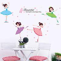 Красочные детская комната декор балета наклейки танцовщиц стены Съемные девушки декор комнаты