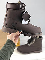 Ботинки Timberland classic 6 inch Dark Brown Fur с мехом. Живое фото (Реплика ААА+)