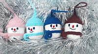 Набор 4 штуки Новогодних игрушек ручной работы на елку Снеговик
