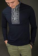 Чоловіча вишиванка Карпатська сіра на синьому