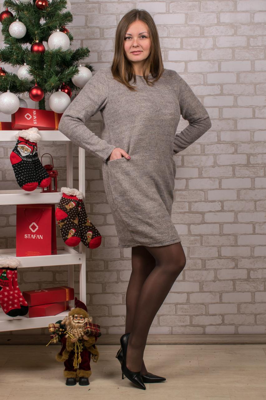 Женское теплое платье с карманами. RBOSSI P22. Размер 52-54.