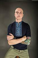 Чоловіча вишиванка Карпатська блакитна на синьому