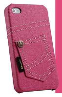 Уникальный чехол бампер для iPhone 4, 4S джинс розовый