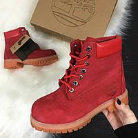 Зимние ботинки Timberland 6 inch красные с натуральным мехом (Реплика ААА+)