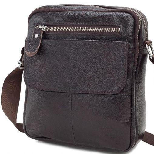 Кожаный мессенджер TIDING BAG, A25-1108C коричневый