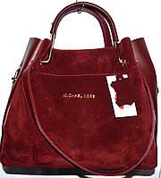 Женские замшевые сумки +клатч 29*33 (бордо) натурал замша