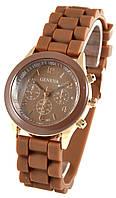 Женские силиконовые  коричневые часы Geneva