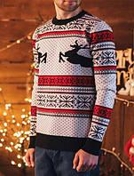 Вязаный мужской теплый свитер с оленями Staff one