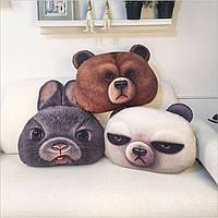49x34см творческий С.хлопка головы 3d медведь кролика подушки животное подушку подарок на день рождения трюк игрушки