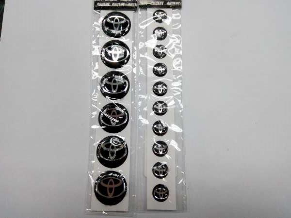 Силиконовые 3D наклейки TOYOTA  комплект.  размеры 10, 13 и 20 мм