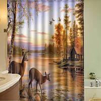 150x180cm полиэфирное волокно водонепроницаемый олень занавески для душа с 12 крючками ванной декора