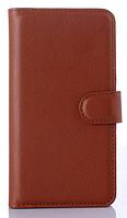 Кожаный чехол-книжка для Lenovo A516 коричневый