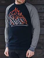 Мужской свитшот (футболка с длинным рукавом) Staff navy logo fire