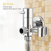 KCASA Латунная ловушка для ловушек для воды Трехсторонний угловой клапан Водопроводный кран Ванная комната Душевой биде спрей
