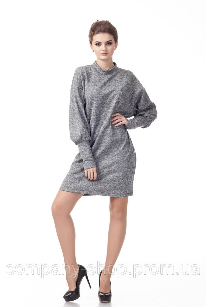 Женское платье оверсайз серое. Модель П093_серая ангора., фото 1