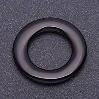 Фурнитура кольцо круг широкий из черного агата  4см с отверствием для нити