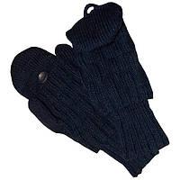 Вязаные зимние варежки - трансформеры с митенками, джинсового цвета