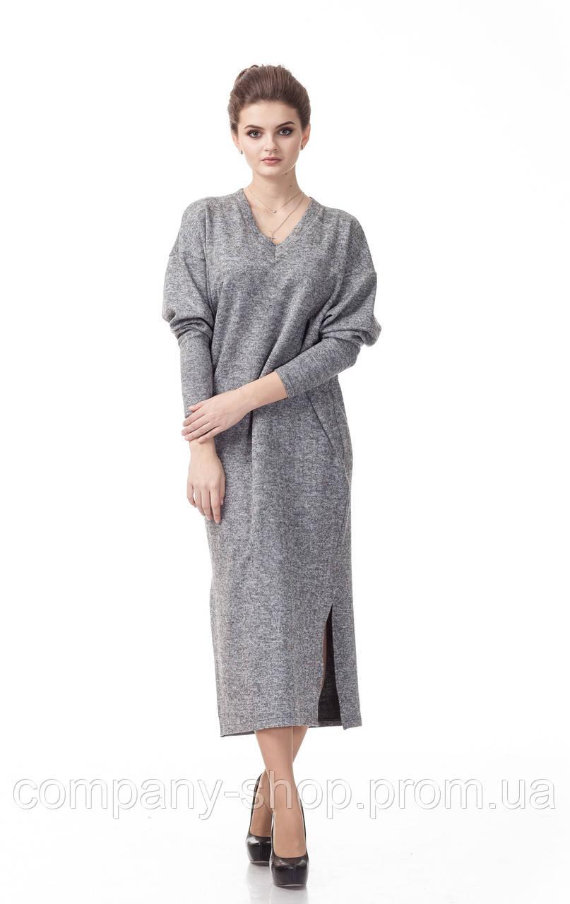 Женское платье оверсайз с вырезом мысом. Модель П094_серая ангора.