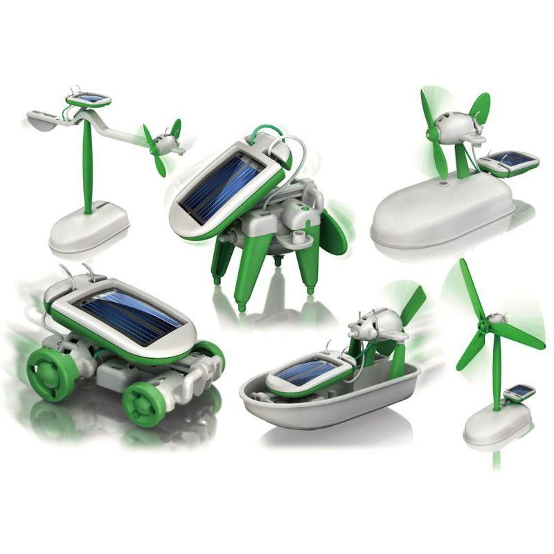 Конструктор на солнечных батареях Solar Robot 6 В 1 OR - катер, собака, автомобиль, 3 пропеллерные конструкции (Solar robot 6 в 1)