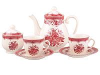 Чайный набор Lefard Виктория пинк на 15 предметов 6 персон, 910-068