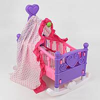 Кроватка-качалка для кукол 008-09  с балдахином, постельное белье