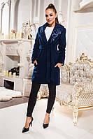 """Пёстрое кашимировое пальто на запах """"Quinn"""" с поясом и красивими вставками из эко-кожи (5 цветов)"""