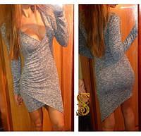 """Кокетливое ангоровое платье """"Borislava"""" на запах с ассиметричным фасоном (1 цвет)"""
