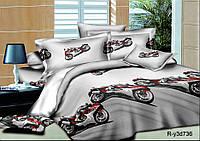 """Полуторный комплект постельного белья с детским рисунком """"МОТО (серый)"""" 150х220 из ранфорса (50х70) серый"""