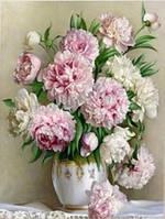 Алмазная вышивка 30х40 см, ваза с пионами