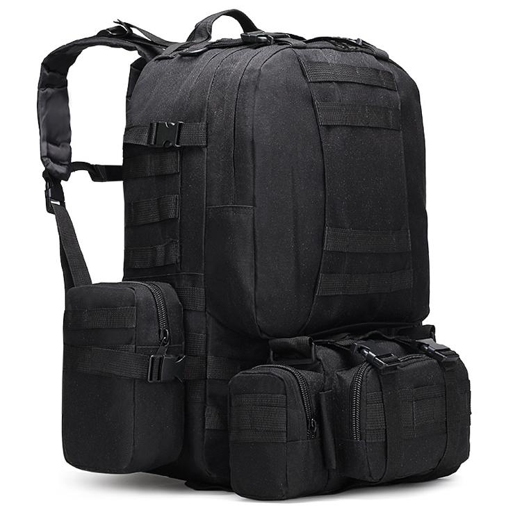 Тактичний Штурмової Військовий Рюкзак з підсумкими на 50-60литров чорний