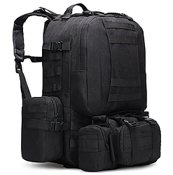 Тактический Штурмовой Военный Рюкзак с подсумками на 50-60литров черный