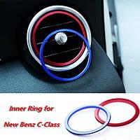 7pcs / комплект кондиционирования воздуха вентиляционное отверстие декоративное кольцо для нового Benz C-класса c180l c200l c260l 2015 интерьера