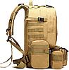 Тактический Штурмовой Военный Рюкзак с подсумками на 50-60литров хаки, фото 4