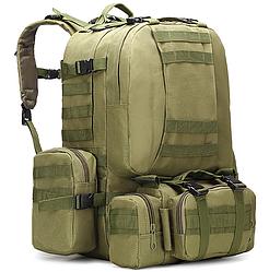 Тактический Штурмовой Военный Рюкзак с подсумками на 50-60литров хаки