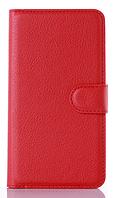 Кожаный чехол-книжка для Lenovo A516 красный