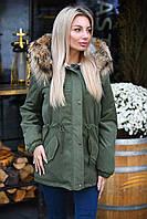 Модная женская куртка-парка с мехом / Украина / парка