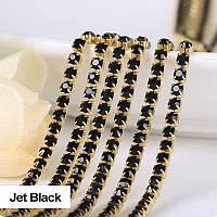 Стразовая цепочка, цвет Jet Black, ss6 (2mm), металл золото, 1м