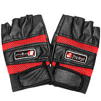 Половина пальца кожи Перчатки Защитные Мужские боксеры мотоцикл Велоспорт Байкер Черный Красный Синий
