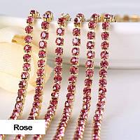 Стразовая цепочка, цвет Rose, ss6 (2mm), металл золото, 1м