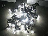 Гирлянда-нить из лампочек 10м HOLIDAY BULB 30ламп белая, тепл. белая (черн. кабель), фото 1