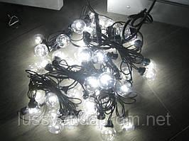 Гирлянда-нить из лампочек 10м HOLIDAY BULB 30ламп белая, тепл. белая (черн. кабель)