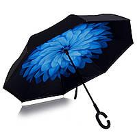 Зонт обратного сложения Vip-brella синий цветок