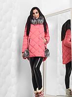 Теплая Зимняя Куртка с Меховыми Бубонами Коралловая