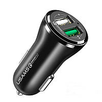 USAMS 18W Dual 2 Port USB Авто Зарядное устройство Совместимое Qualcomm 3+0,0 Для iPhone 7 Samsung S8 Xiaomi 6 Letv