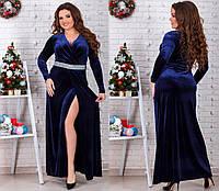 Женское Платье из бархата длинное с алмазной крошкой БАТАЛ