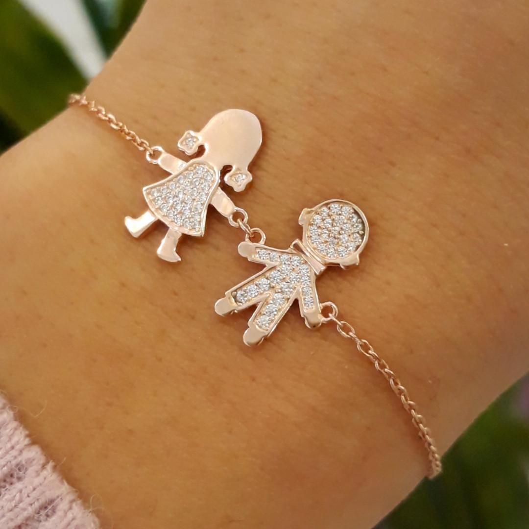 Серебряный браслет для мамы Двойняшки